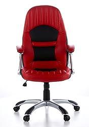 hjh OFFICE 621300 Gaming PC Stuhl RACER 200 Kunstleder rot schwarz, feste Polsterung, ideal zum Zocken, Chefsessel, feste Armlehnen, Bürostuhl Sessel, XXL Chefsessel, Gamer Stuhl