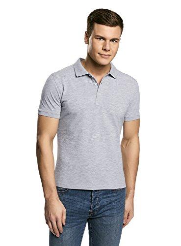 2300 T-shirt Short (oodji Ultra Herren Pique-Poloshirt, Grau, DE 52-54 / L)
