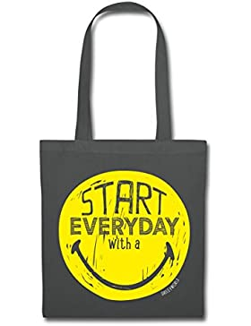 Spreadshirt Smiley World Start Everyday With A Smile Stoffbeutel