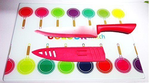 Arbeitsflächenschutz, 30 x 40 cm + Küchenmesser Pro Chef Messer rot 20 cm 2teilig Inklusive Klingenschutz aus Kunststoff zum Schutz der Klingen