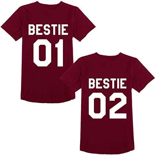 Best Friends Passende T-Shirt für 2 Damen BFF Beste Freundin mit Bestie Aufdruck Zwei Mädchen Sommer Tops 2 Stücke (Weinrot, Bestie-01-M+02-M) -