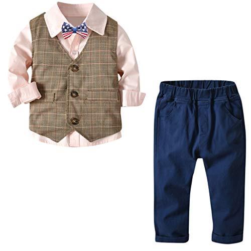 MRULIC Baby Junge Bowtie Gentleman Weste T-Shirt Hosen Hochzeit Anzug Tuch Sets(B-Rosa,Höhe:120-130CM)