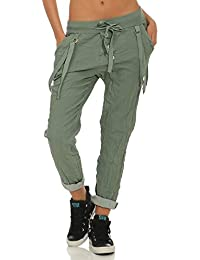 ZARMEXX Pantaloni donna Pantaloni casual in cotone con bottoni a pressione  sul davanti 1e9a878cafc8