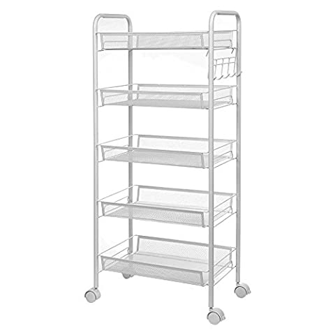 Anjuer Multi Purpose Shelves Vegetable Rack 5 Tier Metal Mesh Rolling Movable Storage Cart Sturdy Serving Trolley Perfect for Home Kitchen Office Use White