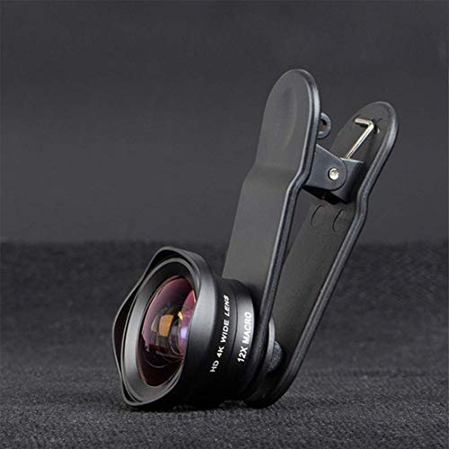 Fuego Wide Angle + Macro Clip on Mobile Phone Camera Lens   Compatible with All iPhone   Android Smartphones  Black