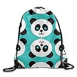 KCOUU Sac à Dos étanche avec Cordon de Serrage pour Homme et Femme Gym école Voyage Taille Unique Green Panda Patterns