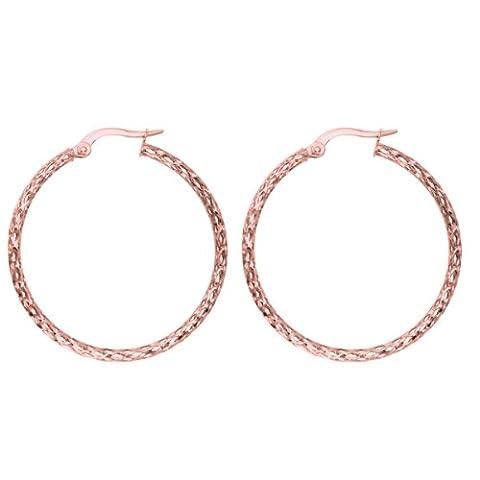 14 k or Rose diamant brillant Boucles d'Oreilles Créoles Fashion Sparkle