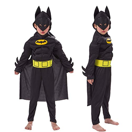 PICCOLI MONELLI Kostüm Bat Man Kinder Kleid Mann Fledermaus Fasching warm mit Super Eroi 11-14 anni Altezza Bimbo 130-140 Schwarz