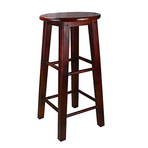 Bequeme Sitzhocker,Retro Küchenhocker High Hocker Runde Bar Hocker Holz Sitz Frühstücksbar, Alle Massivholz Höhe 45cm / 50cm / 60cm / 70cm / 80cm für Küche Counter Bar, 60cm, C