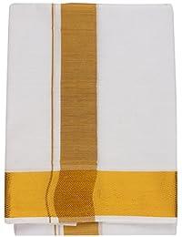 Papaya Men's Cotton Dhoti (White, 2 Meter)