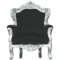 Preisvergleich für Casa Padrino Barock Sessel 'King' Schwarz/Silber