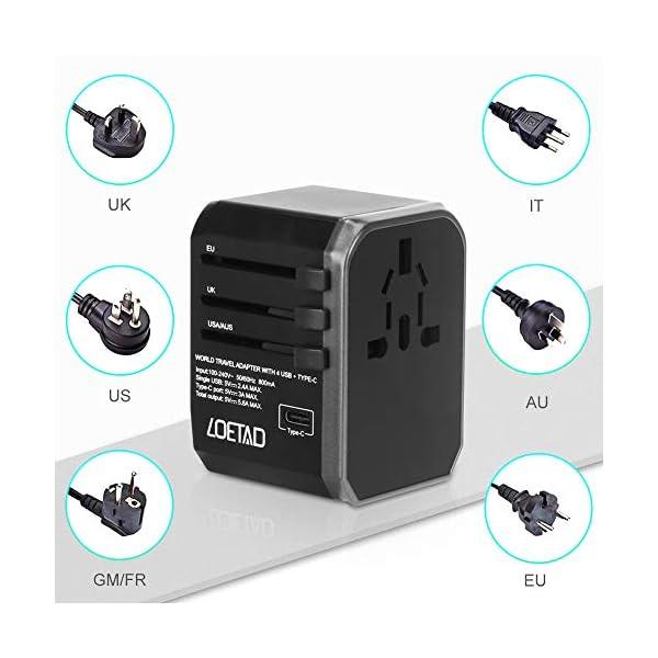 LOETAD-Adattatore-Universale-da-Viaggio-con-4-Porte-USB-30-e-1-Interfaccia-Type-C-Adatto-per-Apparecchiature-da-2000-W-per-Lutilizzo-Negli-Stati-Uniti-Regno-Unito-Europa-Australia-Asia-ecc