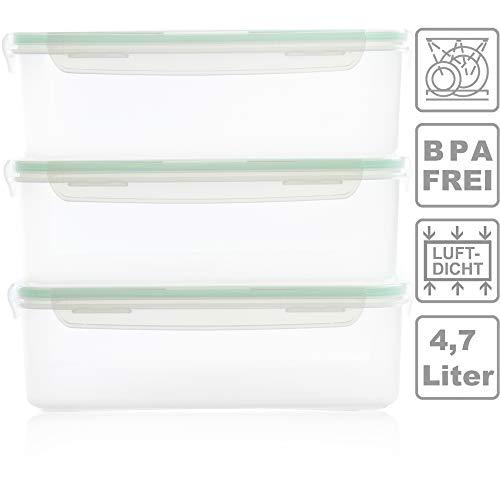Hausfelder XL-Vorratsdosen große Frischhaltedosen Vorratsbehälter - 3er Set   Luftdicht, Wasserdicht und BPA-Frei   Grosse Dosen Behälter zur Aufbewahrung