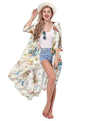 Manteau D Ete Femme Blanc - Aitos Femme Veste Kimono Fleurie Cache-Maillot Et