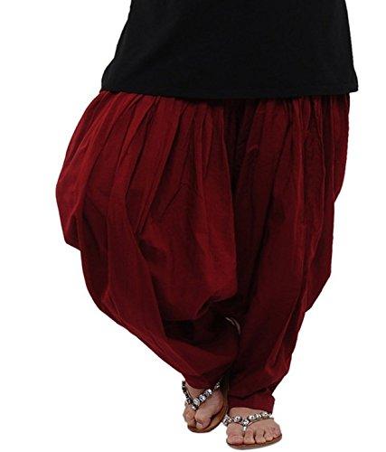 SPV Women's Cotton Patiala Salwar (SPV_0015_Maroon_Free size)