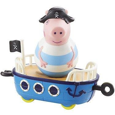 Peppa Pig - Weebles - George le Pirate - Véhicule + Figurine Culbuto 5 cm