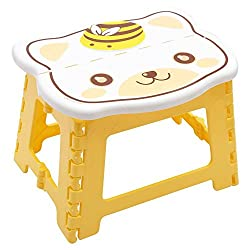 Yellow Folding Step Stool for Kids, Cute Cat design Stepping Stools, Garden Step Stool Multipurpose Portable Stool Compact Stool Portable Super Strong Plastic Stools for Child Kids By Instabuyz