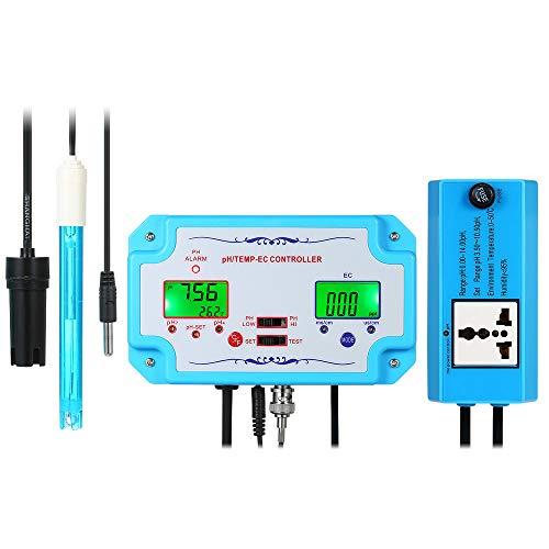 Fesjoy Wassertester, 3 in 1 pH/EC/TEMP Wasserqualität Tester pH-Controller mit Relaisstecker Nachfüllbare Elektrode BNC Sonde Wasserqualitätsprüfgerät für Aquarium Hydroponics Tankmonitor -