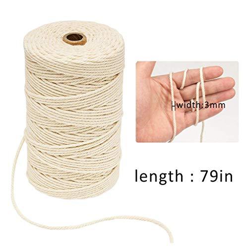 Y56 3mm Durchmesser 200m lang Zwei Farben Natur Baumwollseil Baumwollkordel Rolle Baumwolle Bakers Twine Seil rustikale Land Handwerk handgemachte Accessoires (E)