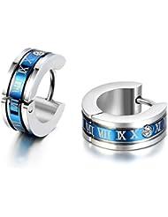 Jewelrywe Pendientes Hombres Donna, N?mero romano, pendientes del aro, de acero inoxidable, azul plata (con bolsa de regalo)