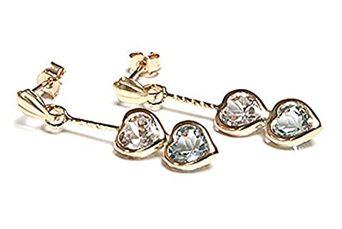 9ct Gold Blue Topaz and CZ Double Heart Earrings