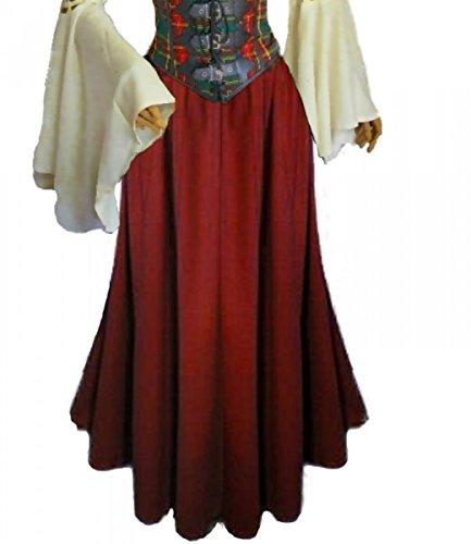 Dark Dreams Gothic Mittelalter LARP Rock Luana einfarbig, Größe:freesize;Farbe:rot