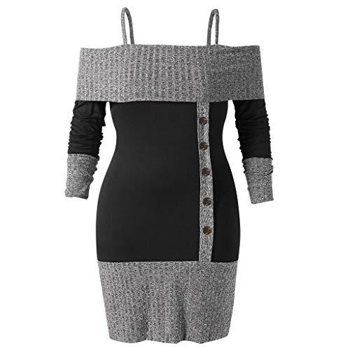 VEMOW Heißer Elegante Damen Frauen Plus Size Long Sleeve Open Schulter Zwei Ton Strickwaren Lässige Freizeit Party Pullover Tops Hemd Winter Herbst(Schwarz, EU-48/CN-4XL) -