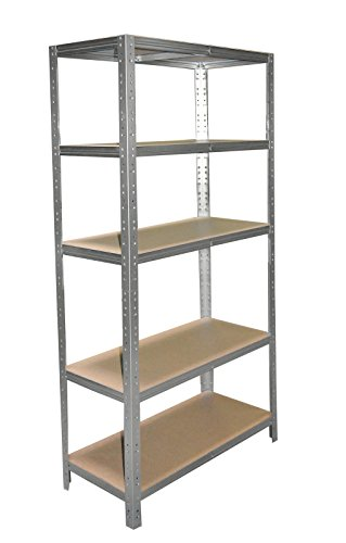 Schwerlastregal 180 x 40 x 50 cm mit 5 Böden Stecksystem aus Metall verzinkt: Metallregal geeignet als Kellerregal, Lagerregal, Archivregal, Ordnerregal, Werkstattregal - Keller-storage-shelf