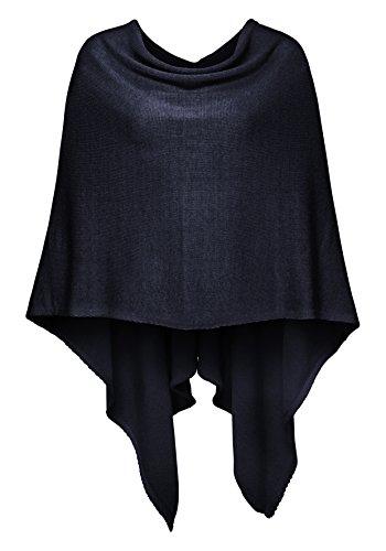 Cashmere Dreams Poncho-Schal aus Baumwolle - Hochwertiges Cape für Damen - XXL Umhängetuch und Tunika - Strick-Pullover - Sweatshirt - Stola für Sommer und Winter Zwillingsherz (navy)