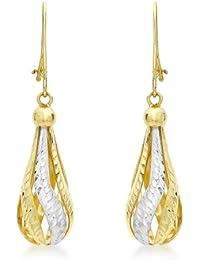 Carissima Gold Pendientes de mujer con oro bicolor de 9 quilates (375/1000), sin gema