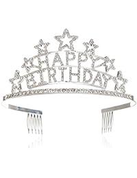 SWEETV Happy Birthday Niños Adulto Cumpleaños Tiara Diadema Rhinestone Fiesta Corona, Plata
