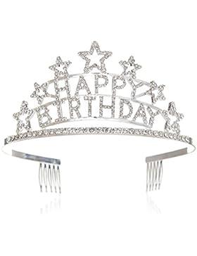 SWEETV Happy Birthday Tiara Geburtstag Kristalle Geburtstagsfeier Krone Kinder Diadem mit Haarkämme