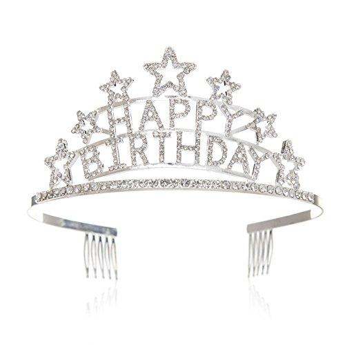 SWEETV Happy Birthday Tiara Kristalle Geburtstagsfeier Krone Erwachsene Kinder Diadem Geburtstags Kopfstücke mit Haarkämme, Silber