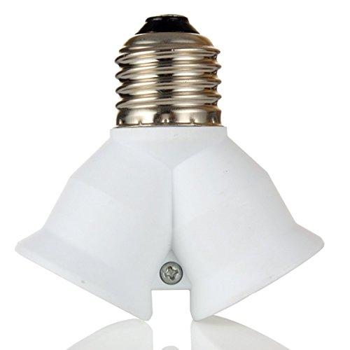 kompassswc E27 vers E27 Forme de Y Ampoule Lampe CULOT 1 à 2 E27 Ampoule LED Lampe Adaptateur Ampoules LED, Weiß, 1