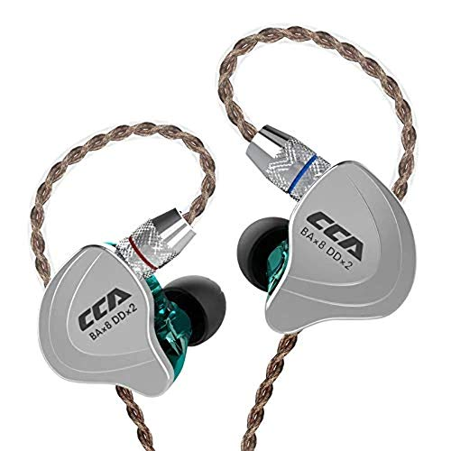 CCA C10 Kopfhörer 4BA 1DD Hybrid 4 Balanced Armature und 1Dynamic Drivers Kopfhörer mit 2-poligem Ersatzkabel No Mic Cyan