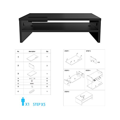 1home Wood Monitor endure TV PC Laptop Computer television screen Riser Desk storage 2 Tiers Black W 420 x D235 x H 130mm Monitor Arms Stands
