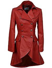 EDWARDIAN mujeres de las señoras rojos lavados de cuero real atada detrás chaqueta de la capa gótica (Red, 12)