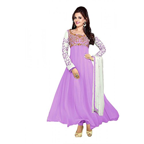 Clickedia Women Faux Georgette Semi-Stitched Anarkali Suit (30008-Purple)  available at amazon for Rs.749