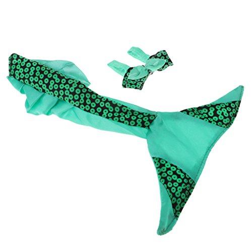 Homyl Schöne Puppenkleidung Meerjungfrau Schwanz Rock mit Büstenhalter Für 29cm Barbie Puppen Strand Dress up - Grün