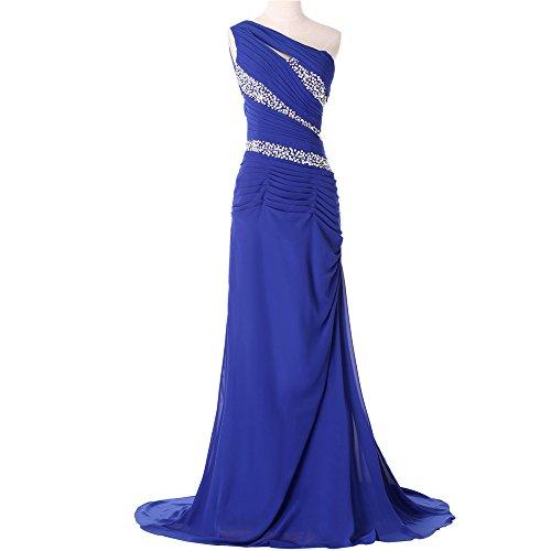 Bridal_mall un épaule femme abendkleider de long avec strass prom ballkleid chiffon élégant Bleu