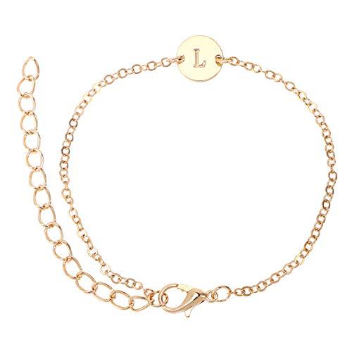 TENDYCOCO Gravierte erste Armband Fußkettchen Buchstabe L Armband einstellbar Monogramm Armband Strand Fuß Kette Armband (Gold)