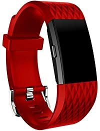Malloom Nueva moda deportes reemplazo silicona pulsera correa banda para Fitbit Charge 2 (Rojo)