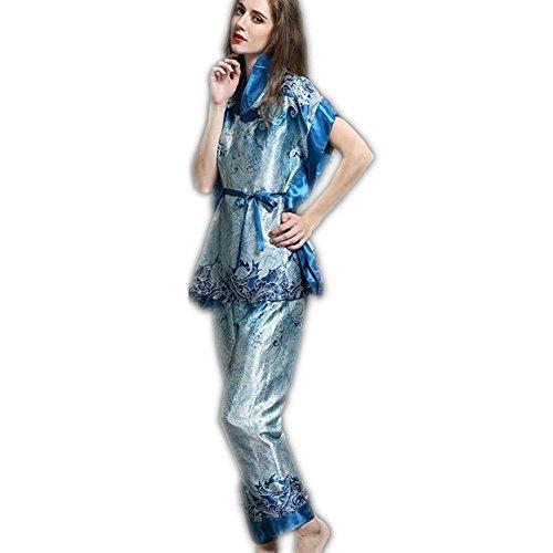 GJX Donna raso seta pigiama Set Pjs seta manica lunga , blue