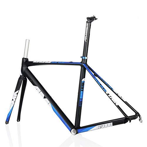 WANGYONGQI Aluminiumlegierung Rahmen leichte 700c Carbon Gabel 48/50/52 cm Rennrad Rahmen,Blackblue,50cm