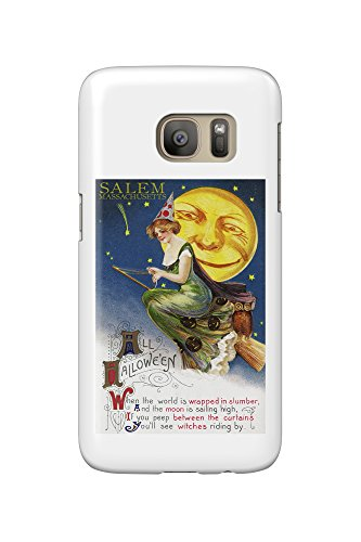 Salem, Massachusetts - Halloween Witch and Moon - Vintage Artwork (Galaxy S7 Cell Phone Case, Slim Barely There)