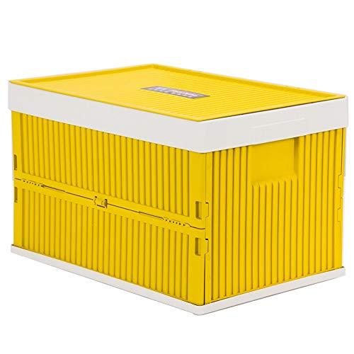 AXWT Multifunktions Große Angeln Fisch Box Green Storeage Fach Faltschachtel Aufbewahrungsbox Kunststoff Lagerung Sortieren Lagerung Trash Box Auto Trunk (Color : Yellow) (Lagerung Trunk Box)