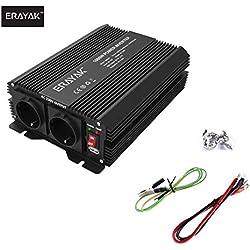 ERAYAK 1000W Convertisseur Transformateur de DC 12V à AC 230V/240V, TUV Certifié, Puissance Pic 2000W, 2.1A Port USB, Deux Ports de Charge Parfait pour Réfrigérateur, TV, Ventilateur, Perceuse