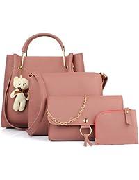 Mammon Women's PU Leather Handbag Combo (4-teddy-pink)