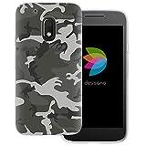 dessana Camouflage Transparente Schutzhülle Handy Case Cover Tasche für Motorola Moto G4 Play Militär Grau