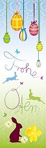 1art1 65507 Ostern - Frohe Ostern, Häschen Und Bunte Ostereier Selbstklebende Fototapete Poster-Tapete 250 x 79 cm